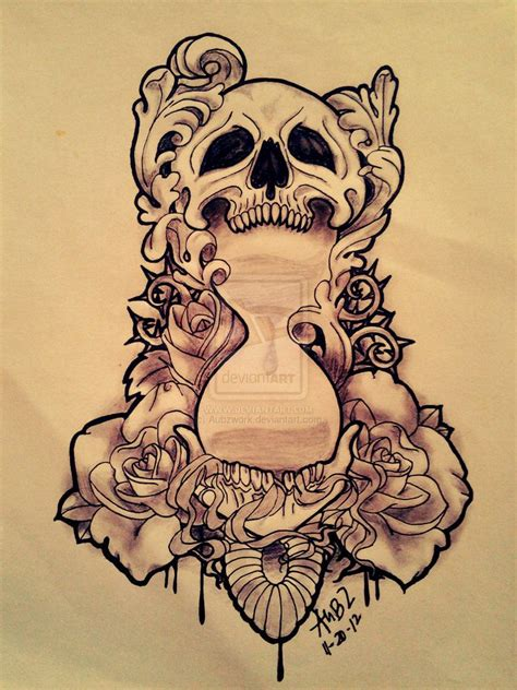 hourglass skull tattoo designs modified skull x hourglass by aubzwork on deviantart