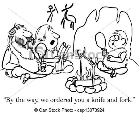 what s with the way we use forks and knives at the table clip art of cave boy must use knife and fork quot by the way