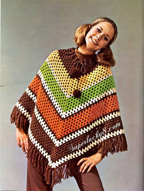 etsy poncho pattern vintage poncho pdf crochet pattern digital download crochet