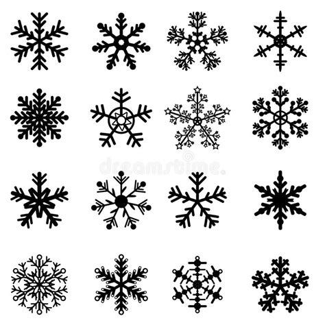 clipart bianco e nero fiocchi di neve in bianco e nero impostati illustrazione