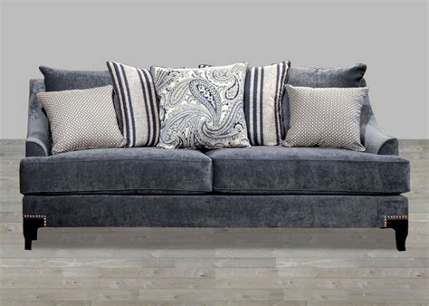 Contemporary Slate Blue Fabric Sofa With Nailhead Trim Nailhead Sectional Sofa