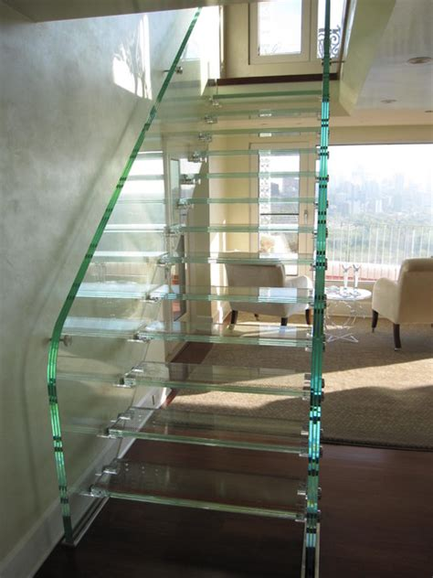 Full Glass Stair Modern Staircase Edmonton by StainlessDreams® Ltd.