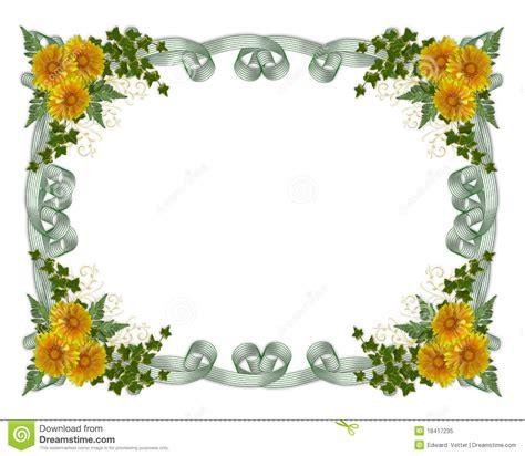 fiori di colore giallo fiori floreali di colore giallo bordo fotografia stock