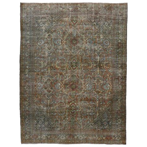 Industrial Area Rugs with Distressed Vintage Mahal Area Rug With Modern Industrial Style For Sale At 1stdibs