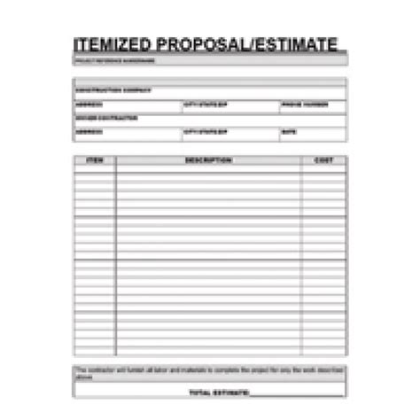Free Printable Contractor Proposal Forms Home 187 Clearance 187 Contractor Itemized Proposal Itemized Quote Template
