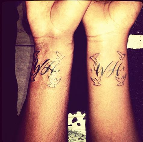 boyfriend and girlfriend matching tattoos initial design for friendship tattoomagz