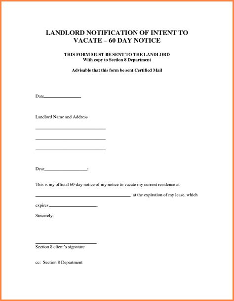 written notice letter template 9 30 day notice to vacate letter template notice letter