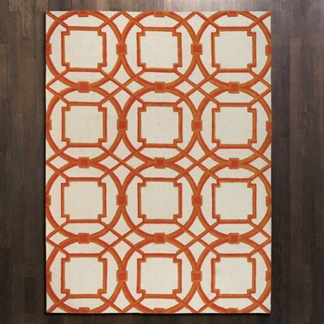coral geometric rug luxury plush wool geometric links rug coral