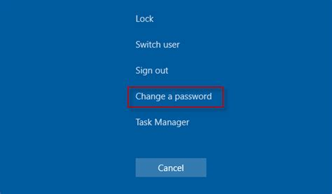 Changing To Win how to change account password in windows 10