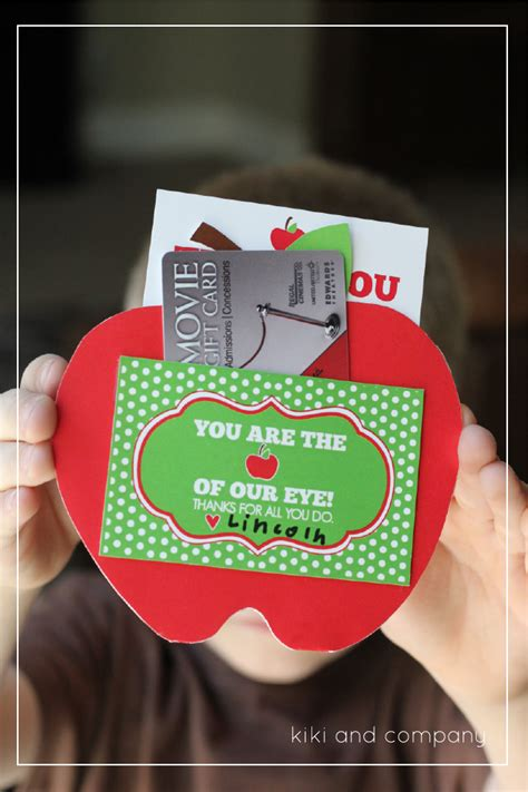 Gift Cards For Teachers - you are the apple of our eye free teacher appreciation printable kiki company