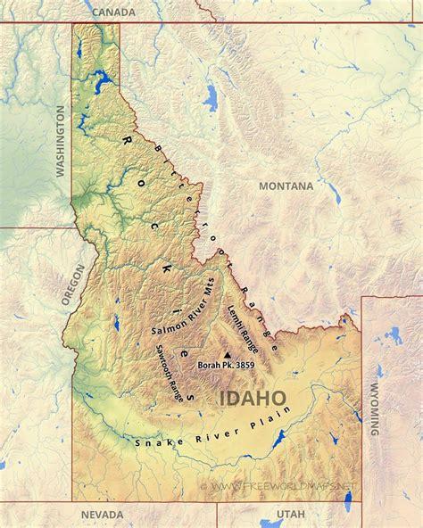 idaho on map physical map of idaho
