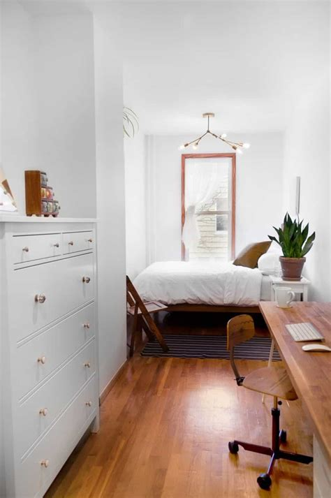 minimalist small bedroom with white walls and houseplant