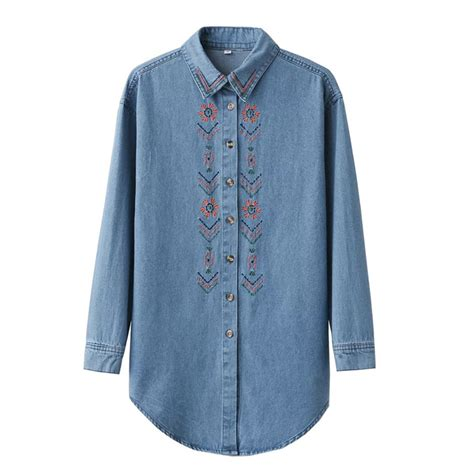 Blue Retro Denim Top 42825 retro blue denim blouse with embroidered