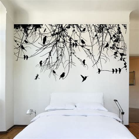wall decals trees and birds tree branch with birds and dragonfly vinyl wall decal