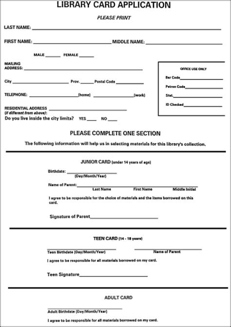 library card application template ready set read a guide to running family literacy nights