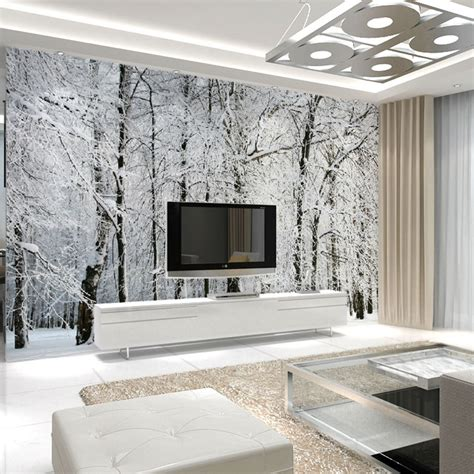 living room mural large wall murals papel de parede snow birch trees forest