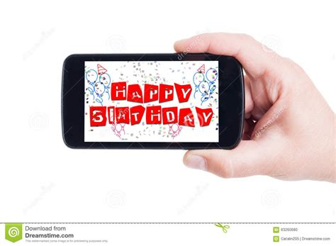 Be Happy Phone happy birthday concept on smartphone display stock