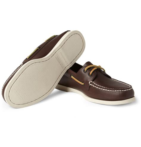 sperry mens leather boat shoes sperry top sider leather boat shoes in brown for men lyst