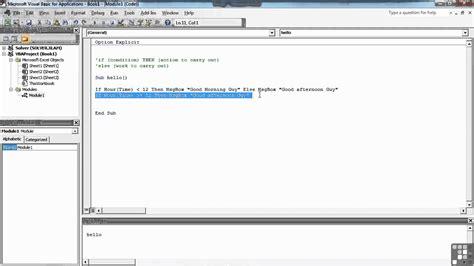 tutorial visual basic in excel visual basic for excel tutorial program flow with if