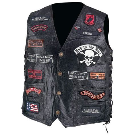 biker vest mens black leather biker motorcycle vest 23
