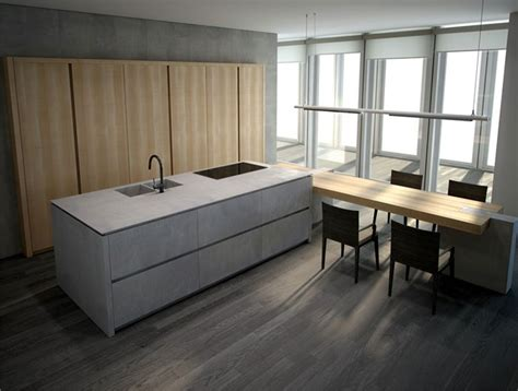 Concrete And Wood Kitchen by Furniture Design Inspired By Concrete Interiorzine