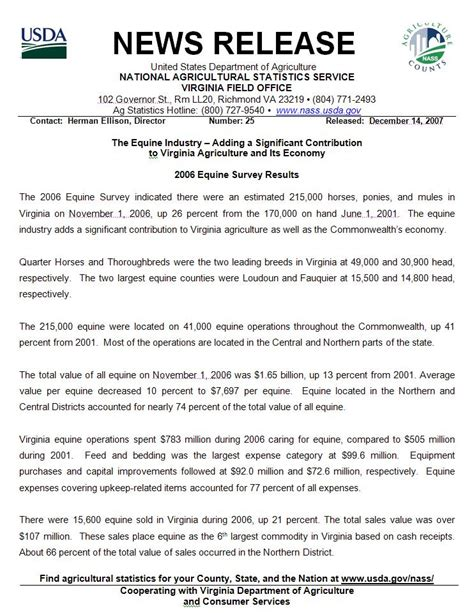 Press Release On Newsletter usda news release january 2008