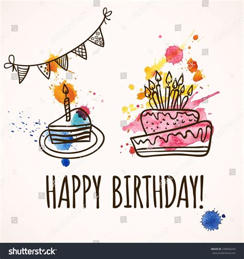 happy birthday card design vector illustration happy birthday card doodle hand drawn stock vector