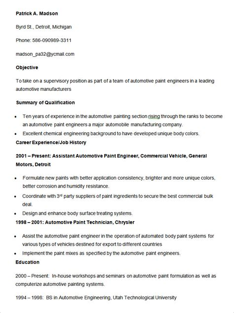 Automotive Painter Resume Template by Automobile Resume Templates 25 Free Word Pdf Documents