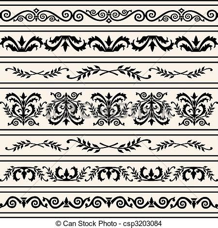 Exquisite Bedroom Set eps vector of set of floral vector borders set of floral