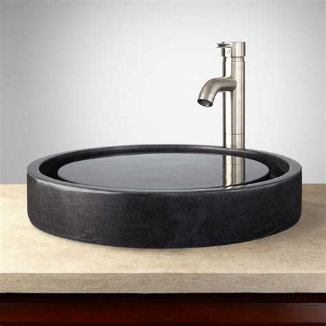 vessel sinks for bathroom round polished granite infinity vessel sink bathroom
