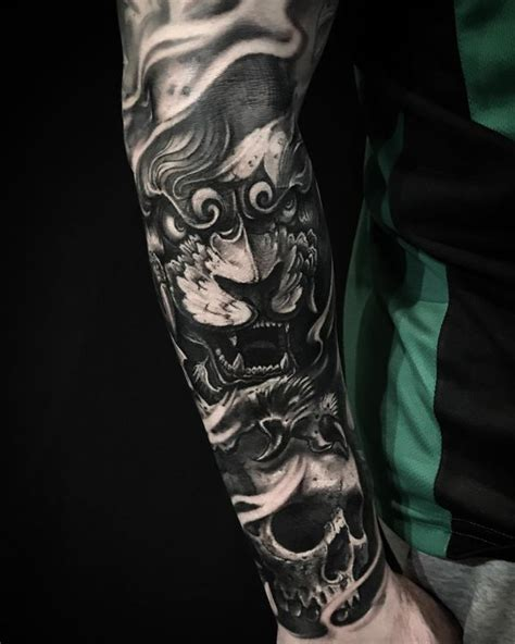 electronic inspired blackwork sleeve tattoo foo tattoos designs fu meaning