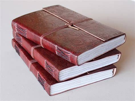 Handmade Paper Journals - large embossed leather journal with handmade paper