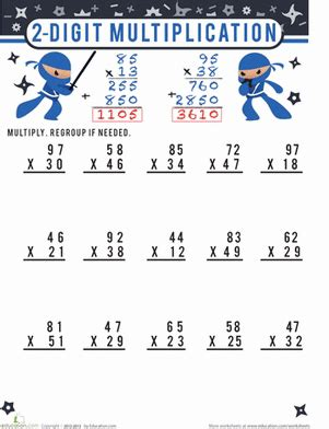 2 digit multiplication worksheet education com