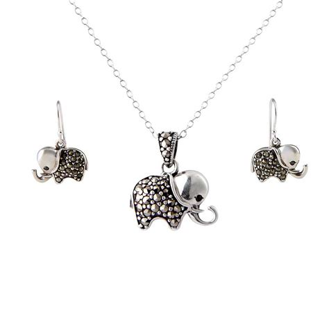 sterling silver to make jewelry sterling silver marcasite elephant charm pendant necklace