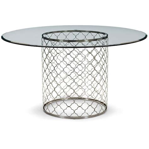 brushed nickel dining table southton brushed nickel and glass top dining table