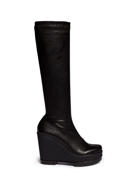 robert clergerie sostij stretch leather wedge knee high