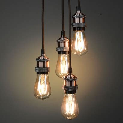 Vintage Lighting Copper Quad Pendant Retro Lights