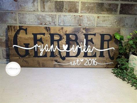 Wedding Anniversary Gift With Name by Wooden Wedding Sign Custom Name Sign Personalized