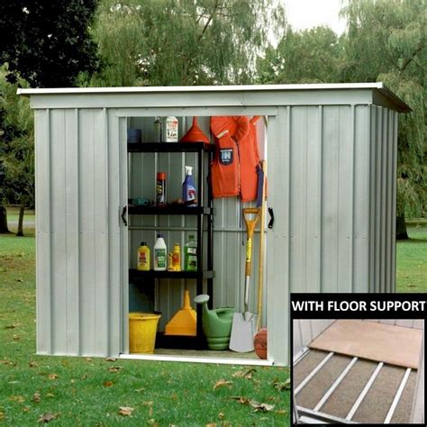 Garden Sheds 8 X 4 by Yardmaster 84pz Pent Metal Shed 8x4 With Floor Support Kit