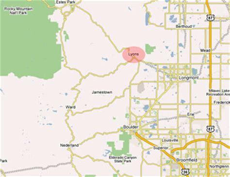 map of colorado lyons lyons colorado