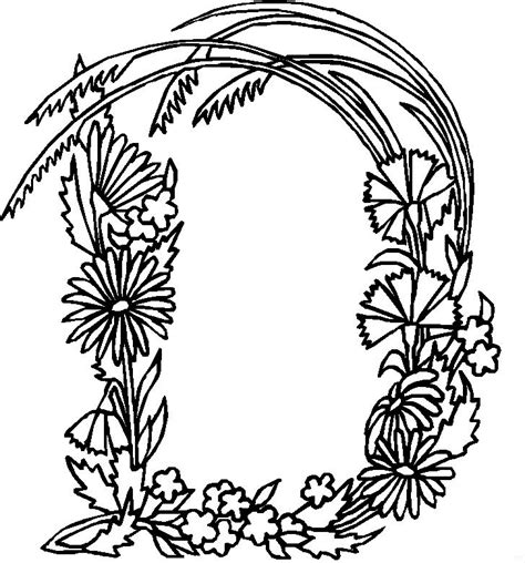 alphabet coloring pages with flowers coloring page alphabet flower d coloring me
