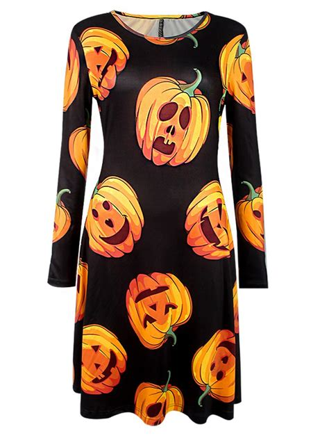 how to dress up as a pumpkin for pumpkin print sleeve dress in black
