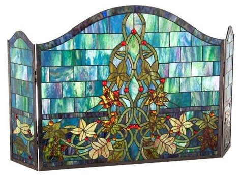 stained glass fireplace screen stained glass