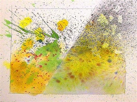 watercolor techniques for splattering spraying paint