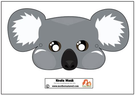 printable wombat mask best photos of koala bear mask template koala mask