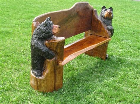 chainsaw benches chainsaw carved bench with bear ends walnut by