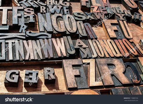 wooden block letters bunch vintage wooden block printing stock photo 1723