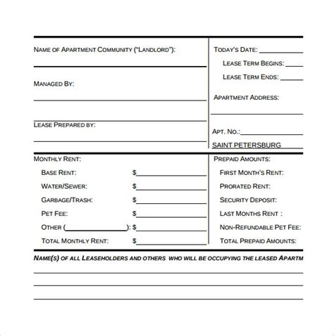apartment lease agreements 7 free sles exles