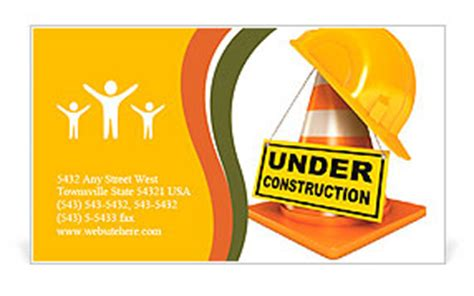 construction worker business card template helmet for builder worker traffic cones