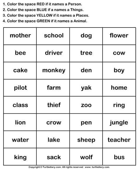 is color a noun identify nouns and color the box worksheet turtle diary